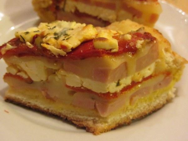 пълнен хляб шунка сирене кашкавал пипер