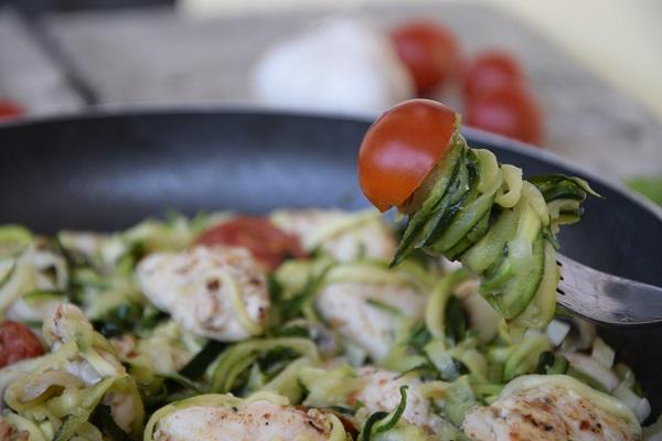 рецепта спагети от тиквички с пиле и гъби