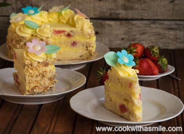 козуначена торта с ванилов крем торта с козунак