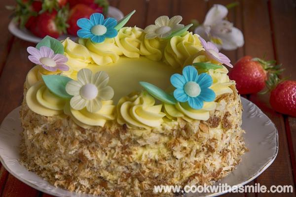 козуначена торта с ванилов крем рецепта