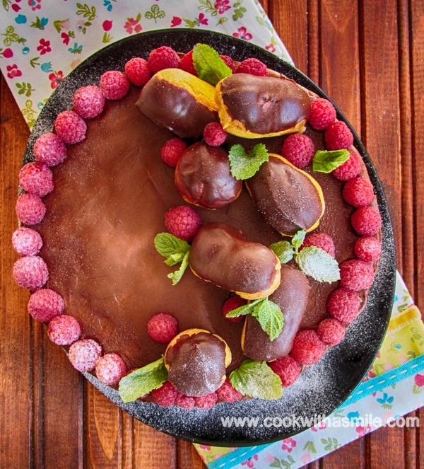 Еклерова торта с шоколадов и ванилов крем