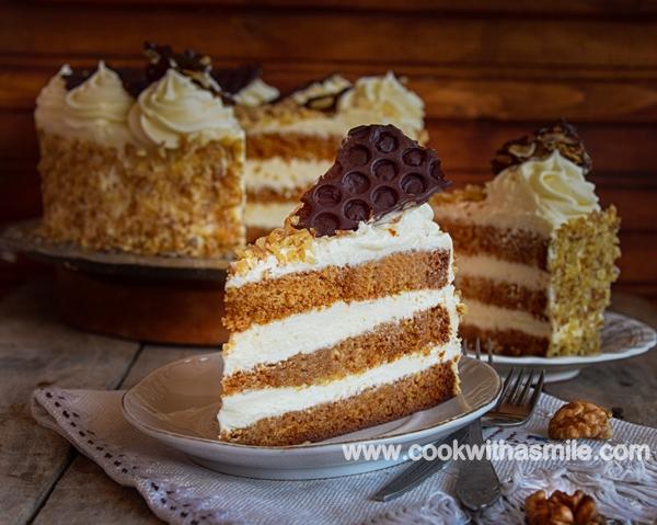 медена торта с млечен крем рецепта