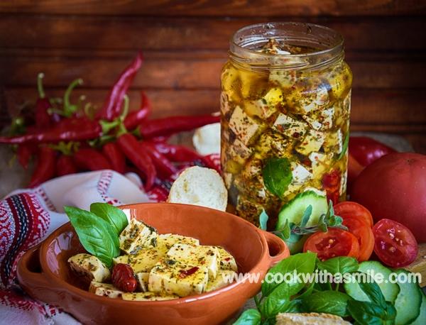 мариновано сирене с билки рецепта