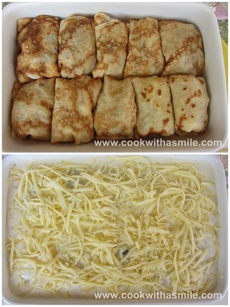 пълнени палачинки с пиле и гъби рецепта