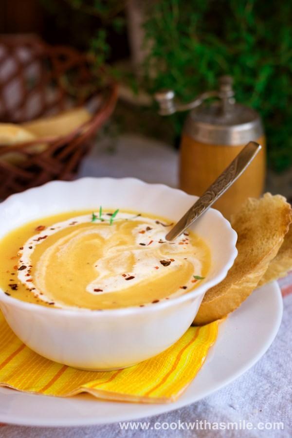 рецепта за крем супа от тиквички и картофи