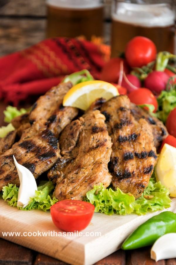 рецепта за мариновани свински гърди на скара марината за свинско
