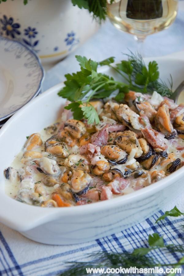 рецепта за миди в сметанов сос