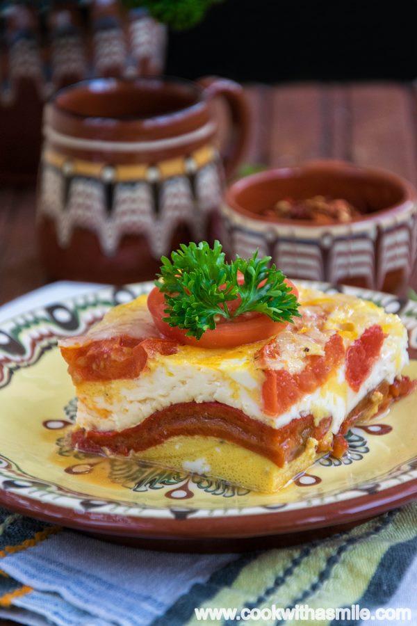 редена запеканка с печени чушки и сирене