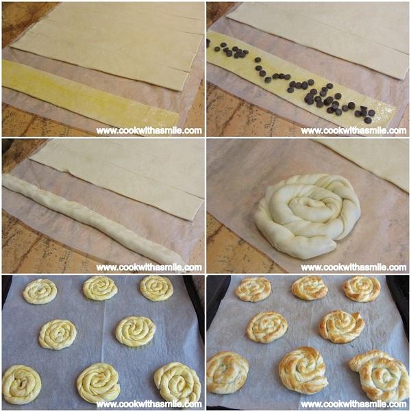 охлювчета от бутер тесто с шоколад стъпка по стъпка