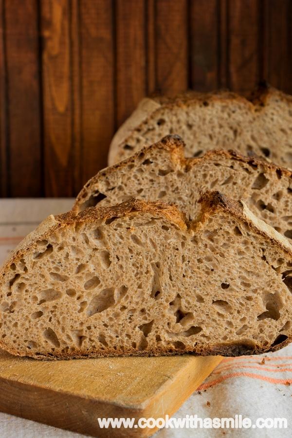 хляб с квас от пълнозърнесто брашно от спелта