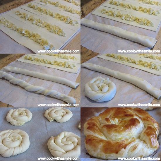 Вити банички със сирене от бутер тесто стъпка по стъпка