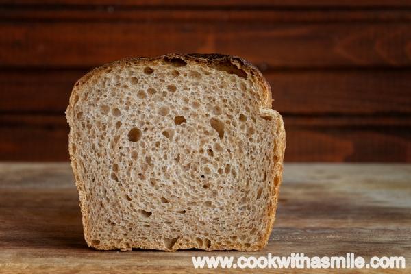 тостерен хляб с квас с брашно от пълнозърнеста спелта