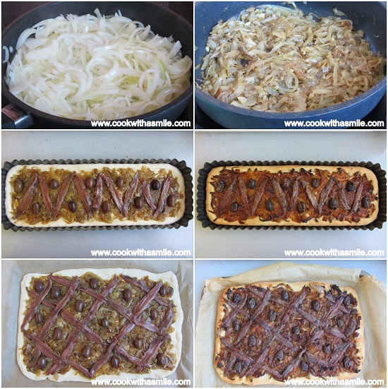 рецепта за писаладиер плосък хляб с карамелизиран лук аншоа и маслини